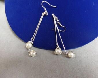 Silver, Pearl and Rhinestone Earrings