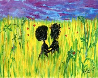 Love. Black Art greeting card.