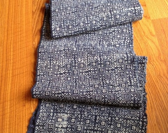 2.5 Yards Thai Hmong Indigo Batik Fabric Hill Tribe Handwoven Ethnic Cotton Tribal 049