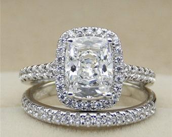 2CT Radiant Cut Man Made Diamond 925 Silver Halo Accents Eternity Band Wedding Bridal Set (CFR0278-MD2CT)