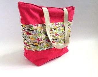 Tote Bag cats raspberry