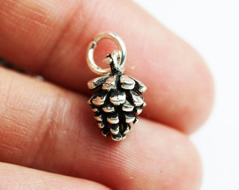 1pc 925 Antique Sterling Silver Jewellery findings Charm Beads , 12*8.5mm Pine Cones Charm -FDSSB0409