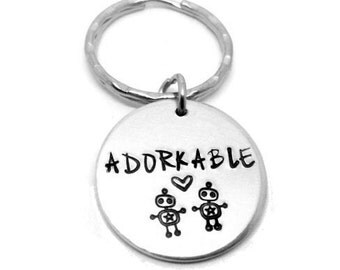 Adorkable Geek/Nerd Robot -  Hand Stamped Keyring - Aluminium