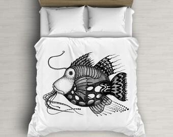 Fish Illustration Duvet Art, Bedding Set, Children Decor, Kids Duvet Cover, Black And White, White Duvet Covers, Twin Bed