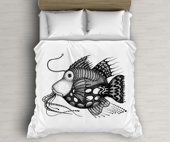 Fish Illustration Duvet Art, Bedding Set, Children Decor, Kids Duvet Cover, Black And White, White Duvet Covers, Twin Bed
