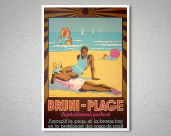 Bruni Plage Vintage Travel Poster - Poster Print, Sticker or Canvas Print