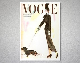 Vogue Cover March 1947 Vintage Fashion Poster - Poster Print, Sticker or Canvas Print