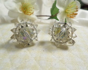 Beautiful Vintage Silver Tone Pair Of Crystal Beaded Clear and Faceted Aurora Borealis Cluster Screw Back Earrings  DL#7523