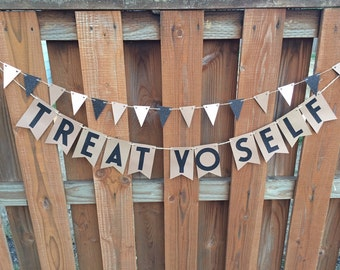 Treat Yo Self- Kraft and Glitter Black Candy Bar or Cake Table Paper Pennant Banner
