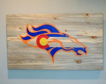 Broncos Wall Art denver broncos flag | etsy