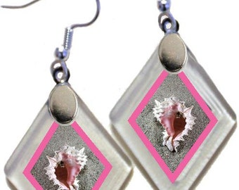 "Earrings ""Seashells"" from rescued, repurposed window glass~Lightening landfills one tiny glass diamond at a time!"