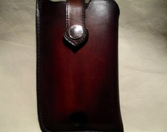 Custom Leather cell Case for Apple iPhone 6 or Samsung S5-S6 in a hard case.