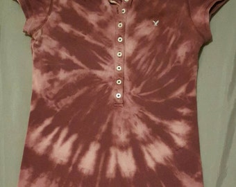 Simply Twisted American Eagle Reverse Tie Dye Polo Shirt