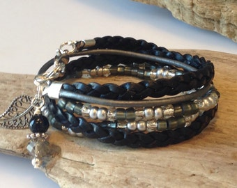 Wrap Bracelet, Boho Beaded Wrap Bracelet, Leather Wrap,Grey, Silver, Black, 2X Leather Wrap, CHOOSE your CHARM!