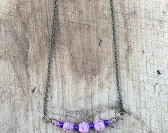Purple Glass Bead Necklace with Brass Chain 19""