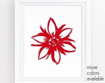 Red flower painting, Flower printable, Red floral, Red and white, Minimalist painting, Modern prints, Printable art, 5x7, 8x10, 11x14  232a