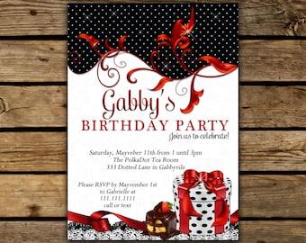 Birthday Invitations, Polka Dot Invitations, Polka dot Party, Birthday invitations, Invitations