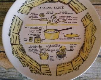 Lasagna Recipe Plate, Kitchen Decor, Vintage Wall Decor, Italian Cooking, Vintage Kitchen Goods