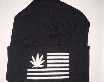 Stoner Weed Flag Beanie Black