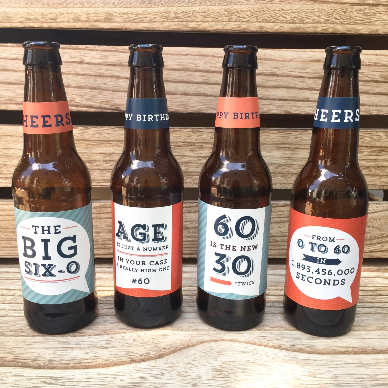 60th Birthday Gift Custom Beer Bottle Labels Cheers And