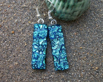 Silver blue water effect dichroic fused glass dangle earrings