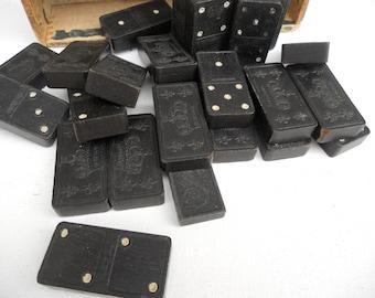 Vintage Dominoes with Wood Box, Old Dominoe Set