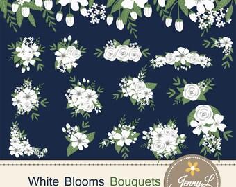 White Flower Bouquet Clipart, Wedding Flowers, Flower Bunches, Floral Arrangement for digital Scrapbooking, Wedding, In