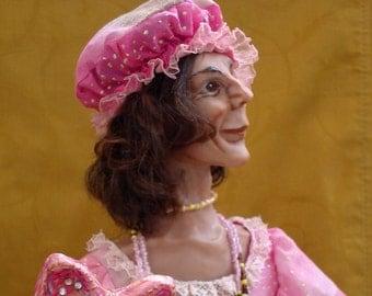 Art Interior Doll, OOAK, Venetian carnival character Gnaga VALERIO, doll with mask, weird doll