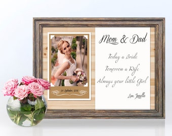 Parents Wedding Gift-Parents Thank You gift Wedding, Gift for Parents of the Bride, Parents of the Groom gift, Custom Shabby chic frame