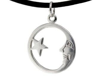 Sun & Happy Moon Eclipse Silver Necklace Pendant