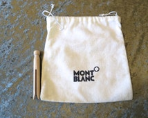 "Small Mont Blanc dust bag,  regift, black white,  dustbag, Mont Blanc, 7 1/2"" x 8"", storage travel upcycle, 616/501"