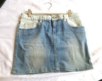 90s two tone denim skirt, mini skirt, ADL skirt, M Medium, faded denim skirt, hipster denim, 1215/892