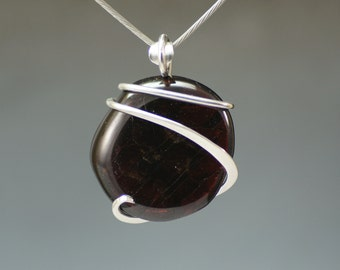 Garnet Cold Forged Sterling Silver Pendant