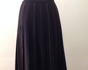 Retro Black Striped Wool Skirt 1970's