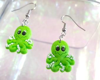 SALE small green Octopus dangle earrings.