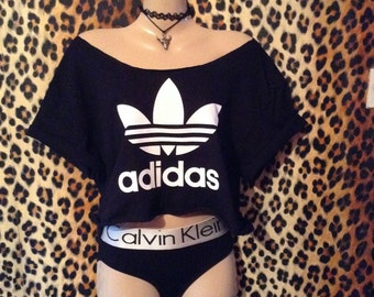 Sassy slouchy off the shoulder adidas crop top urban swag luxe festival celeb style