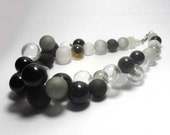 Beaded Jewelry Handmade Lampwork Necklace. Black, white, gray. Frosted beads. Hollow balls.