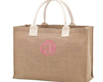 SALE!  Jute Tote Bag/Birthday Gift/Bridesmaid Gift/Beach Tote/Sorority/Teacher Appreciation