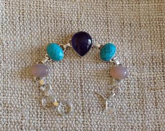 Turquoise Amethyst Rose Quartz Nepalese Silver Bracelet