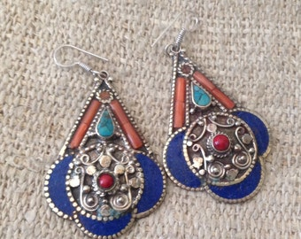 Turquoise Coral Lapis Lazuli Earring