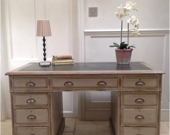 Hand Painted Grey Vintage Antique Oak Kneehole Pedestal Desk