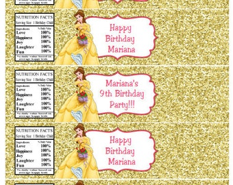 Belle Water Bottle Labels Belle Birthday Party Water Bottle Labels Disney Belle Water Bottle Labels Instant Download