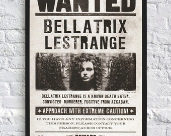 Harry Potter Inspired Poster - Bellatrix Lestrange - Wanted - A4 - Movie Poster