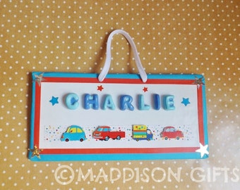 Children's Personalised Transport Themed Name Plaque Bedroom Door Sign Wall Hanging Home Decor Keepsake Gift