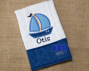 Embroidered Sailboat Burp Cloth
