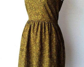 Moss Green with Tiny Leaf Print Dress with Gathered Waist and Triangle Cut-Out on Back