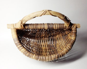 Nice Willow Basket in Shape of Half-Circle - French Willow Basket - Orchard Willow Basket