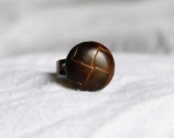 Brown Basket Weave Button Adjustable Ring