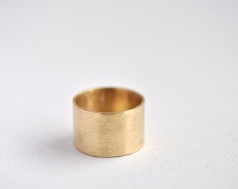 Wide Brass Statement Ring - Smooth or hammered finish