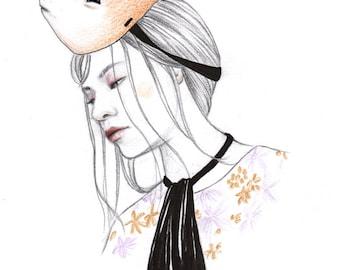 Mask of a Tanuki A4 Art Print